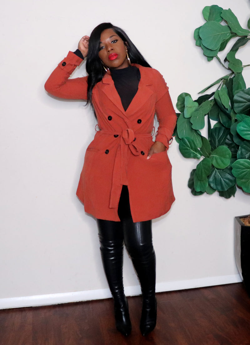 Rust Belted Trench coat