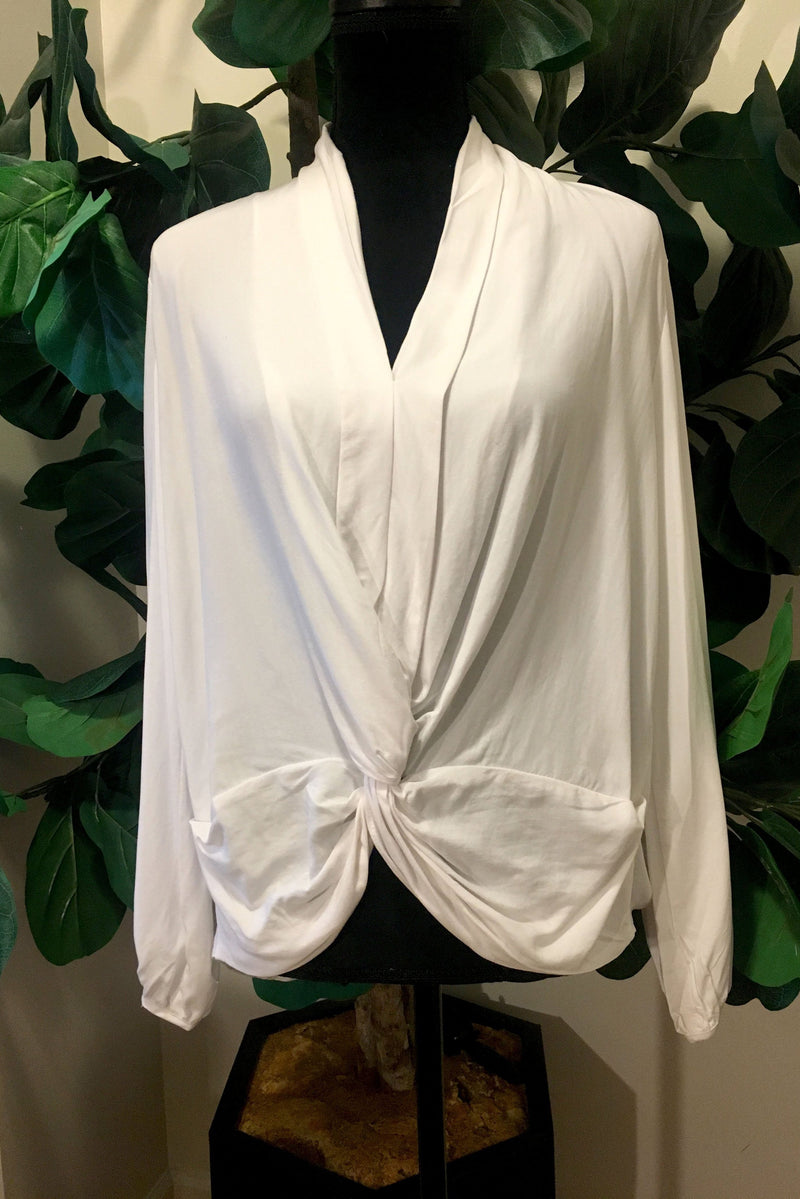 White Twist Tie Blouse - Mixed Emotions Boutique