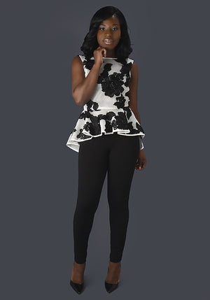 White and Black Mesh Peplum Top - Mixed Emotions Boutique