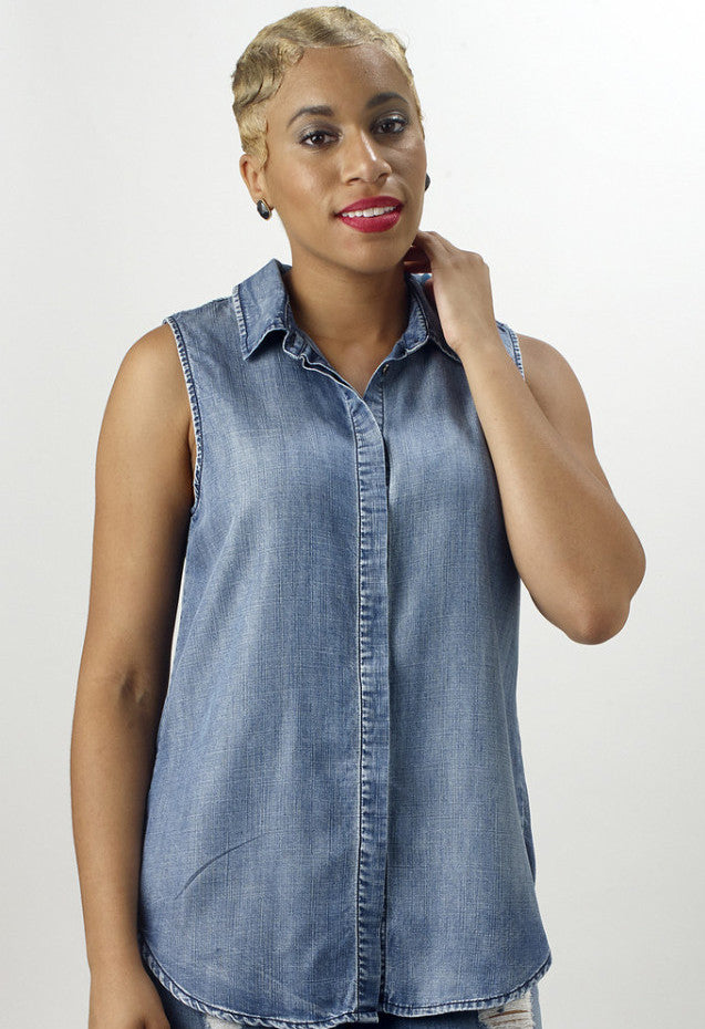 Denim Button Down Front/Back Top - Mixed Emotions Boutique