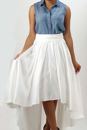 Sliky White Satin Hi-Low Skirt. - Mixed Emotions Boutique