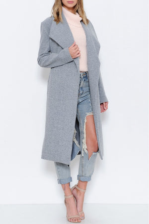 Grey Longline Trench Coat. - Mixed Emotions Boutique
