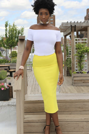 White Midi Pencil Scuba Skirt - Mixed Emotions Boutique