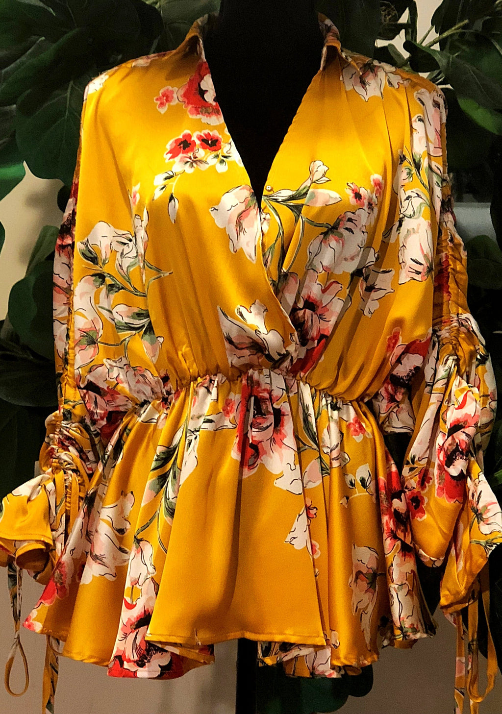 Golden Floral Blouse - Mixed Emotions Boutique