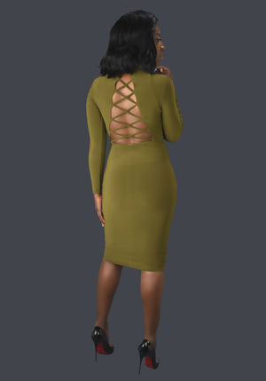 Olive Green Criss Cross Back Midi Dress. - Mixed Emotions Boutique
