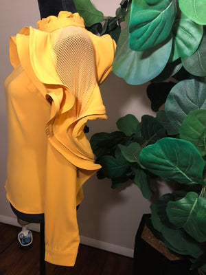 Mesh Ruffles | Mustard - Mixed Emotions Boutique