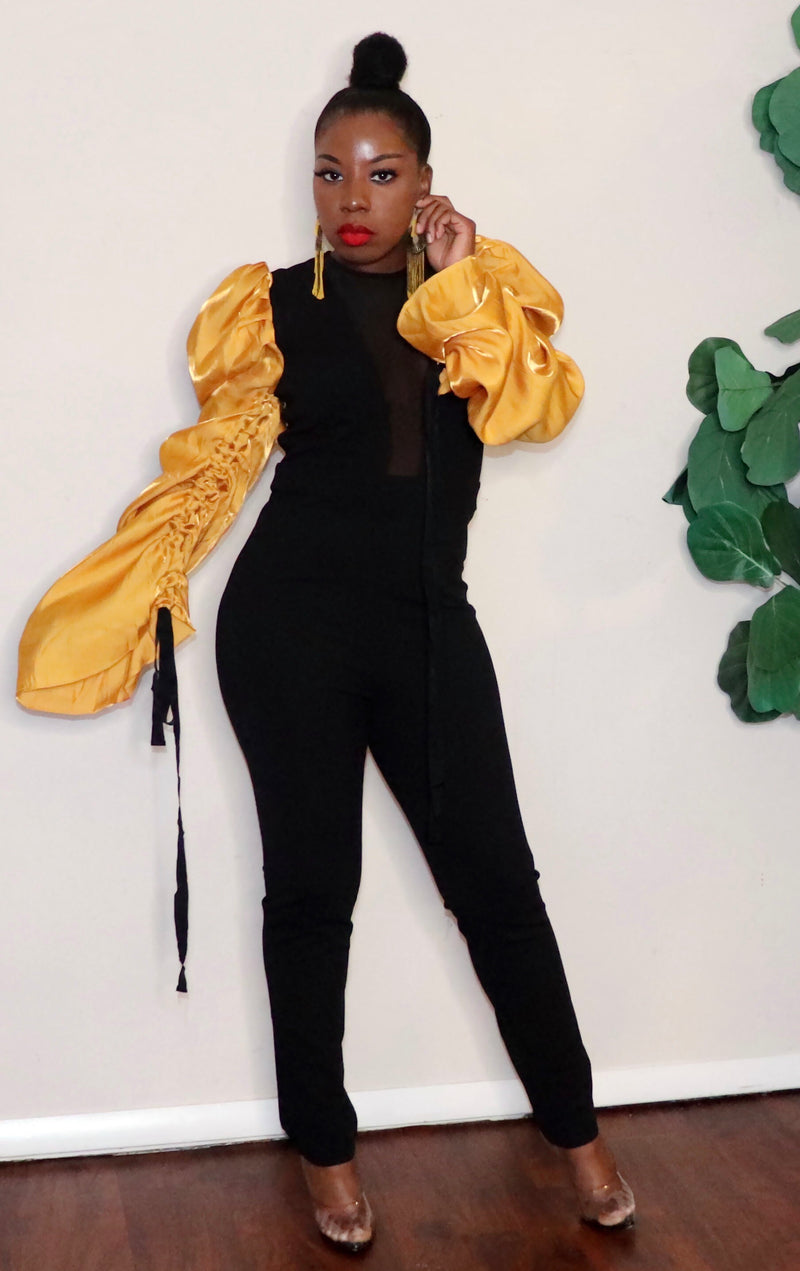 Golden Puffs |Pants-suit