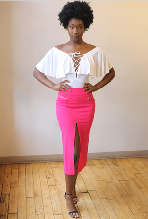 Front Split Pencil Skirt. - Mixed Emotions Boutique