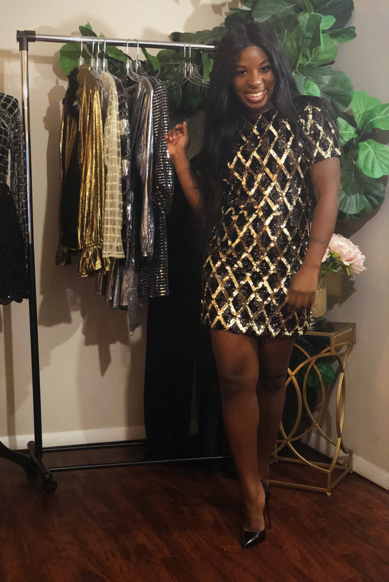 Sequins Mini Dress | Black & Gold