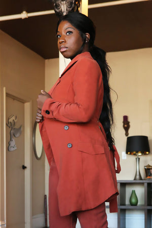 Rust Belted Trench coat - Mixed Emotions Boutique