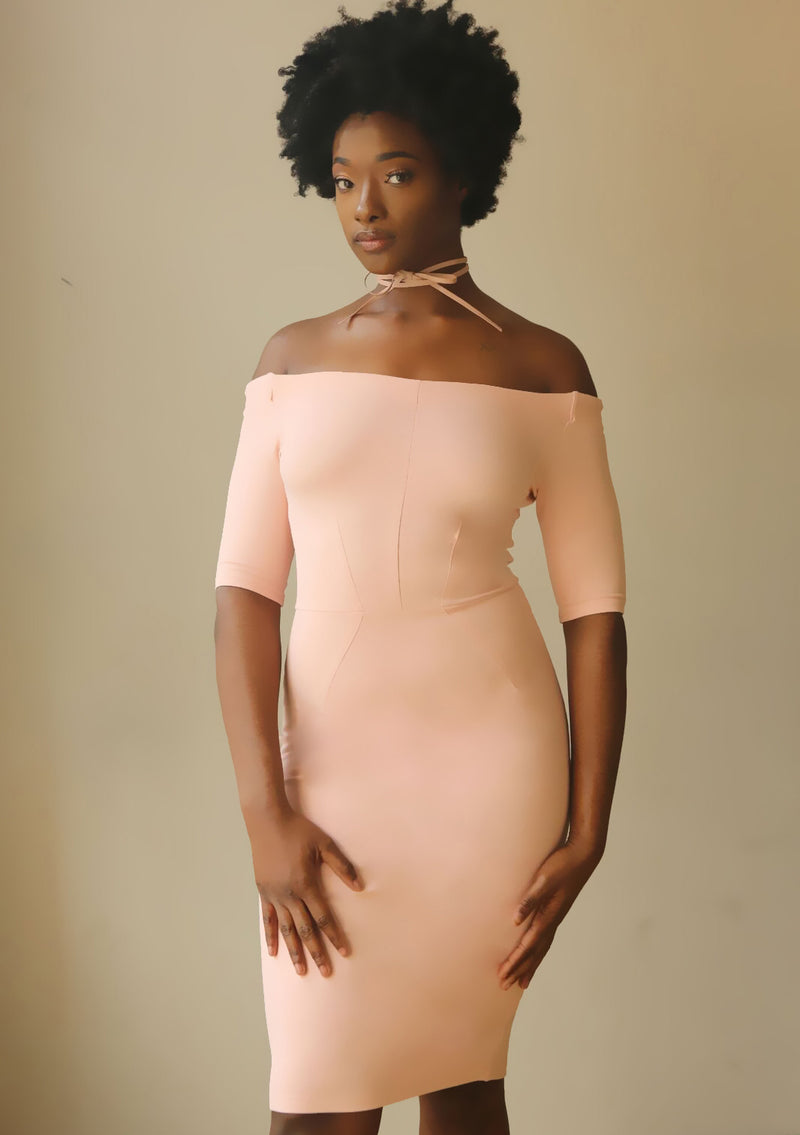 Off Shoulder Lite Pink BodyCon Dress - Mixed Emotions Boutique