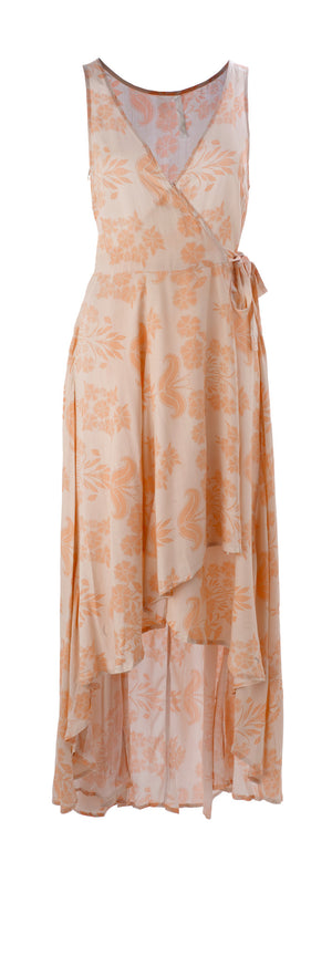 Peach Wrap Dress - Mixed Emotions Boutique