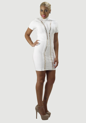 White lace Up Front Bandage Dress - Mixed Emotions Boutique