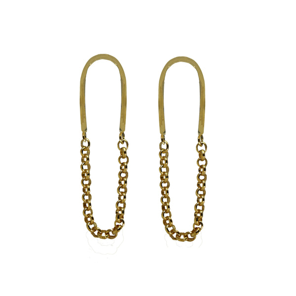 Chain Link Dangles - Mirror Polished Brass - Dante Perozzi Jewelry