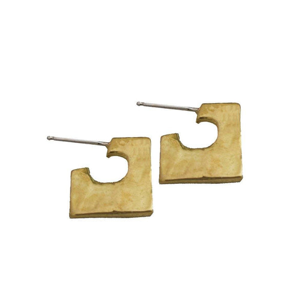Imperfect Square Brass Huggies - Dante Perozzi Jewelry