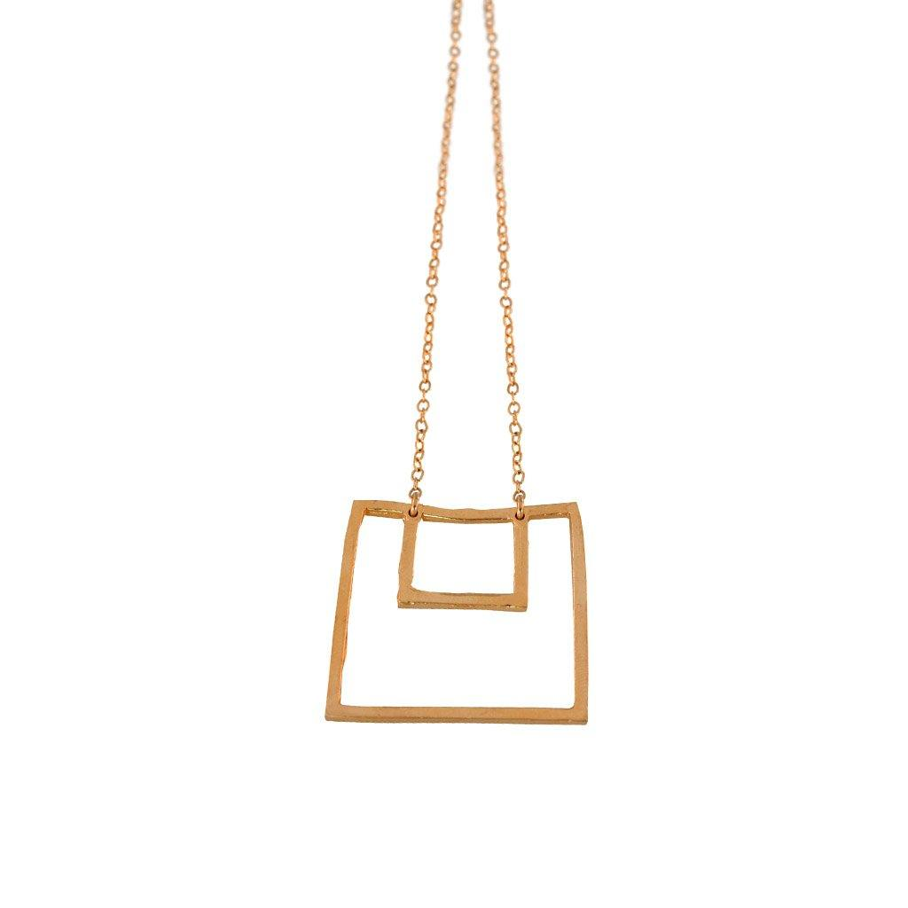 Large Nested Square Statement Necklace