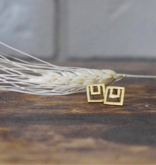 Perfectly Imperfect Brass Rectangle Studs - Dante Perozzi Jewelry