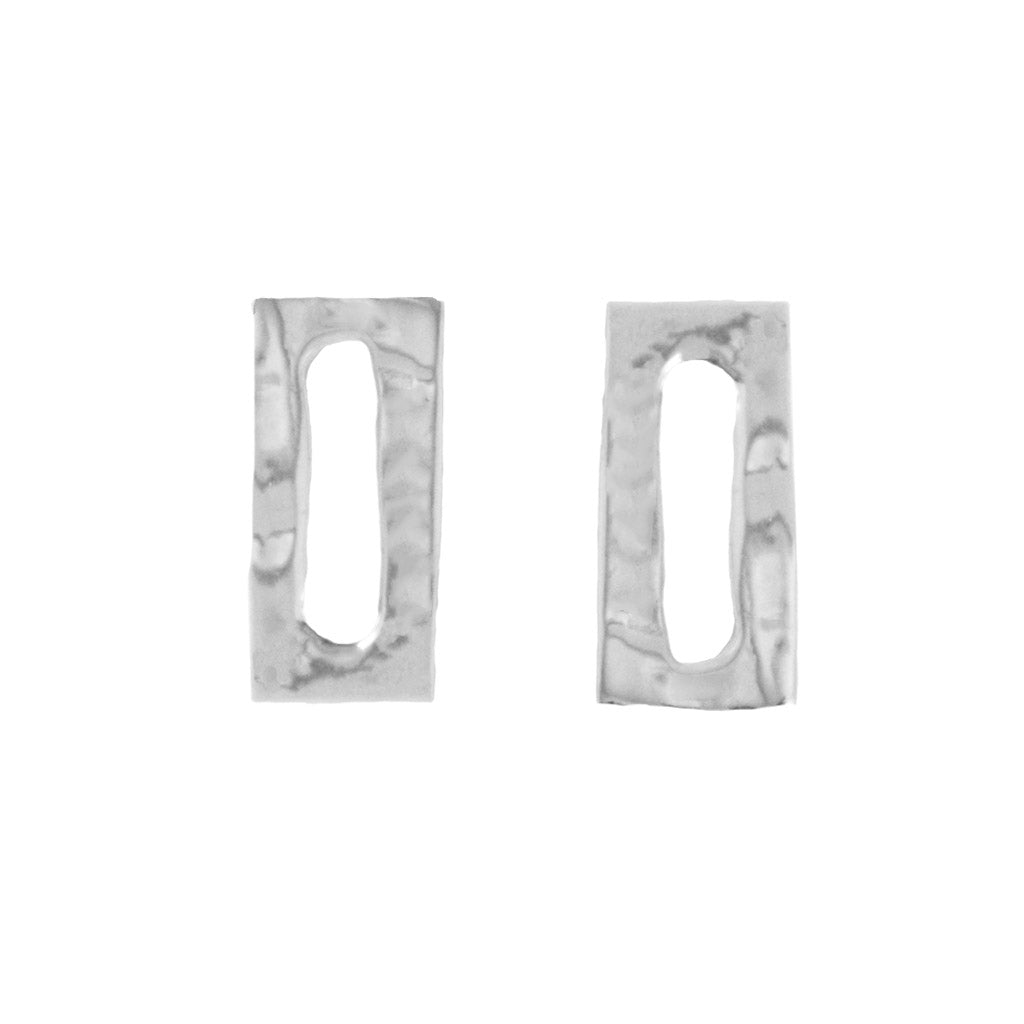 Perfectly Imperfect Sterling SIlver Rectangle Studs - Dante Perozzi Jewelry
