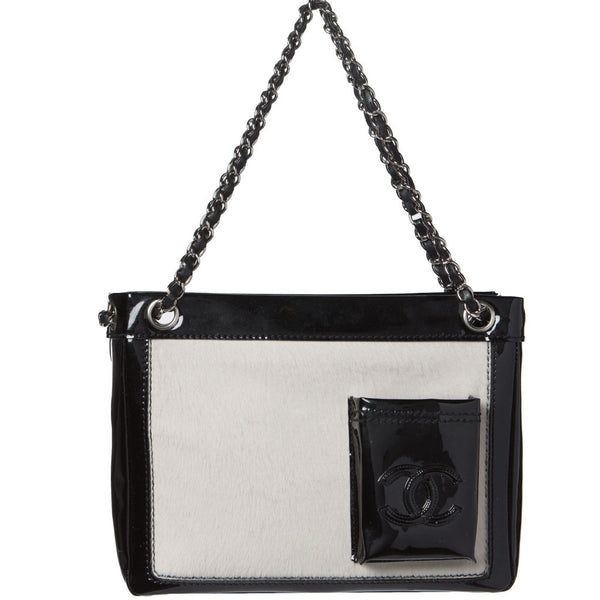 Chanel White Calf Hair/Black Patent Leather Chain Tote Bag. Timeless! Coco et Louis