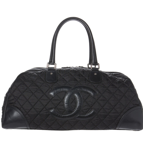 Chanel Black Quilted Wild Stitch Large Calfskin Bag. Elegant!
