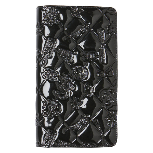 80bbe38cf8bf8d Chanel Black Icon Symbols Charms Patent Leather Wallet. Gorgeous ...