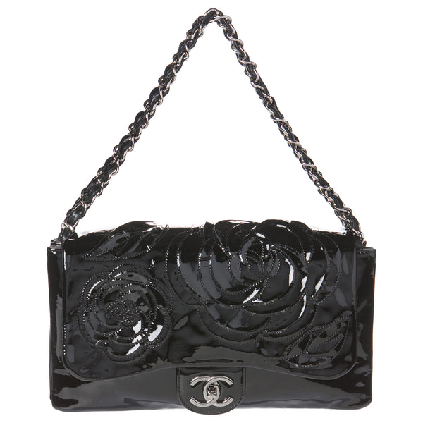 Chanel Black Camellia Flap Collector's Edition Bag.  Breathtaking! - Coco et Louis - 1