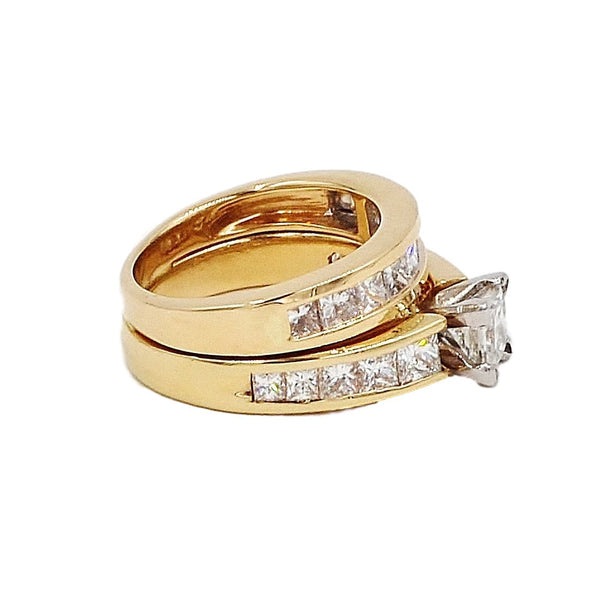 14K Gold 3.23 ctw Diamond Bridal Ring Set.  Size 5 - Coco et Louis - 3