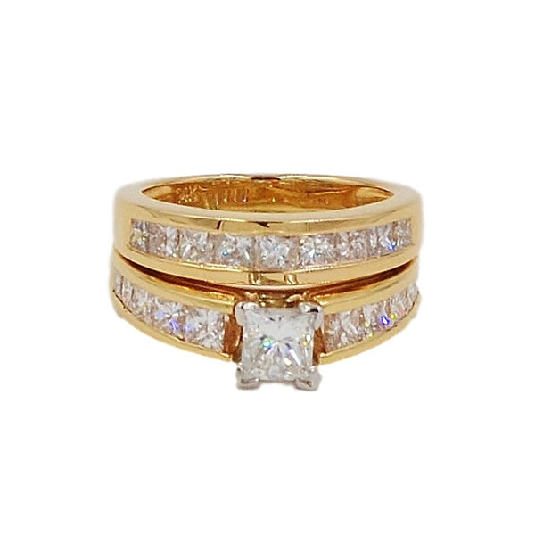14K Gold 3.23 ctw Diamond Bridal Ring Set.  Size 5 - Coco et Louis - 4