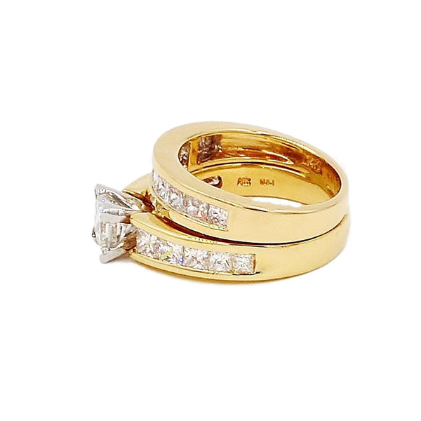 14K Gold 3.23 ctw Diamond Bridal Ring Set.  Size 5 - Coco et Louis - 2