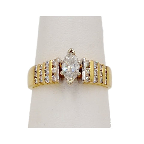 Gold Pearl & Diamond 10K Ring.  Size 5