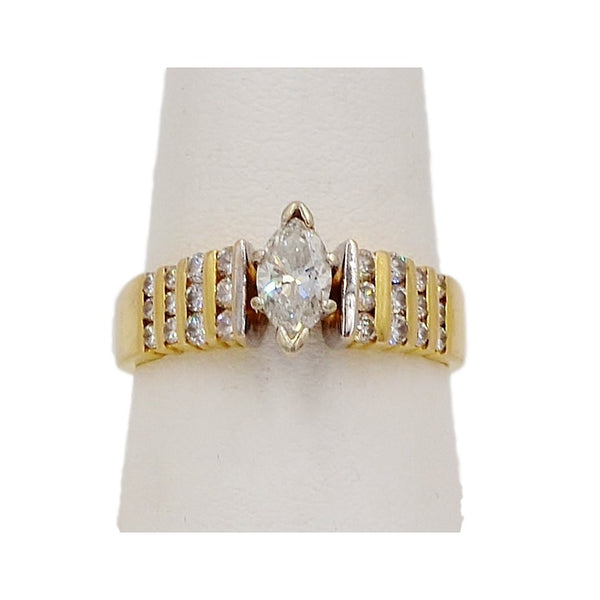Yellow Gold 14K Marquis Diamond Ring. Size 8 Coco et Louis