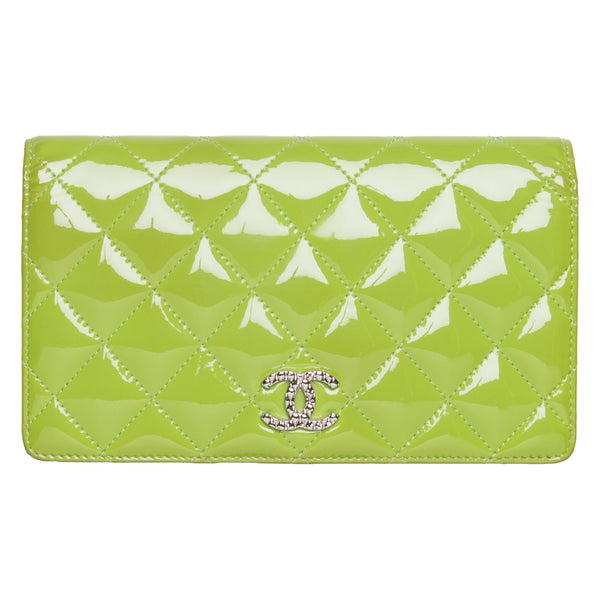 Chanel Lime Green Patent Leather Yen Clutch Wallet.  Lovely! - Coco et Louis - 1