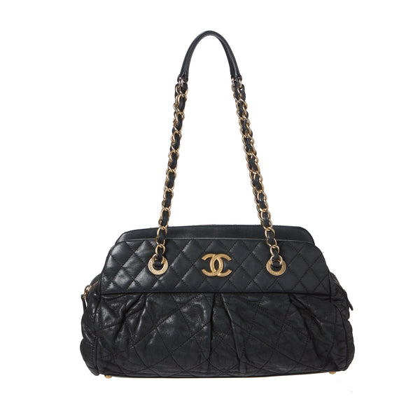 c1f978fe9ef0 Sold -Chanel Black Iridescent Quilted Large Bowling Bag. Chic ...
