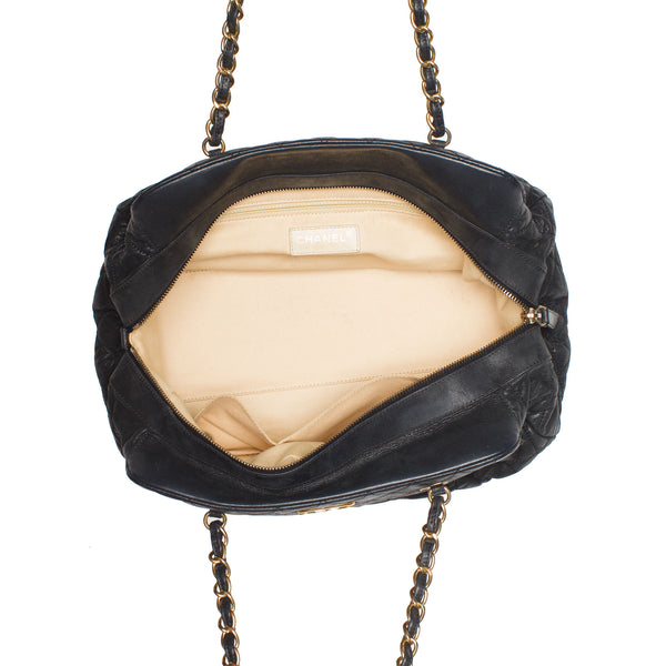 Sold -Chanel Black Iridescent Quilted Large Bowling Bag. Chic! Coco et Louis