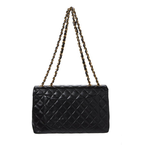 SOLD - Chanel Black Maxi Classic 2.55 Flap Shoulder Bag. Beautiful! Coco et Louis