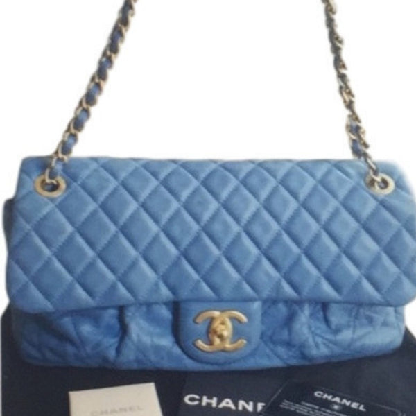 Chanel Blue Chambray Velvety Maxi Flap Bag. Spectacular! - Coco et Louis - 7