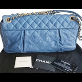 Chanel Blue Chambray Velvety Maxi Flap Bag. Spectacular! - Coco et Louis - 6
