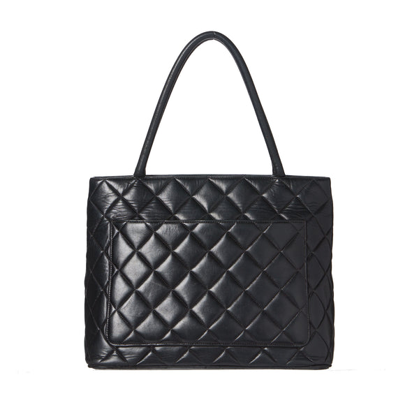 Chanel Black Lambskin w/ Silver Medallion Tote. Exquisite! Coco et Louis