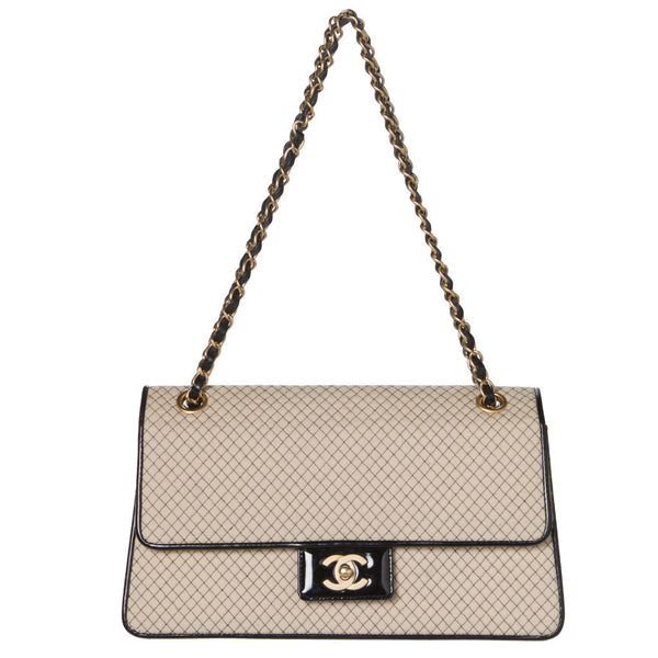 Chanel Beige and Black Two-Tone Large Flap Chain Bag.  Stunning! - Coco et Louis - 1