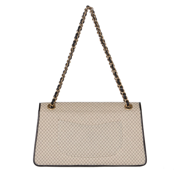 Chanel Beige and Black Two-Tone Large Flap Chain Bag.  Stunning! - Coco et Louis - 2