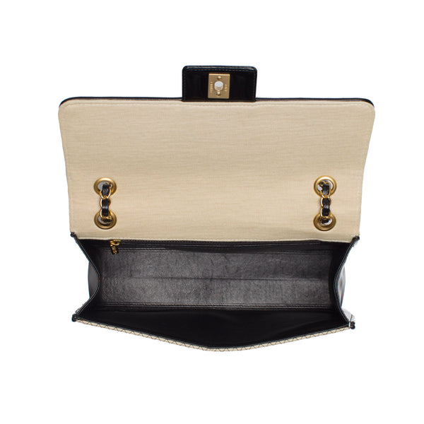 Chanel Beige and Black Two-Tone Large Flap Chain Bag.  Stunning! - Coco et Louis - 4