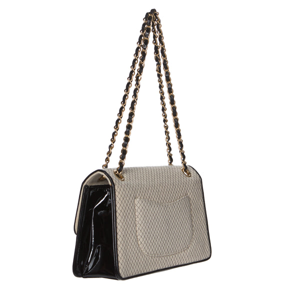 Chanel Beige and Black Two-Tone Large Flap Chain Bag. Stunning! Coco et Louis