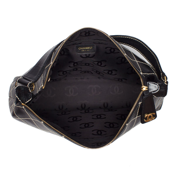 Chanel Black Quilted Wild Stitch Large Calfskin Bag. Elegant! Coco et Louis