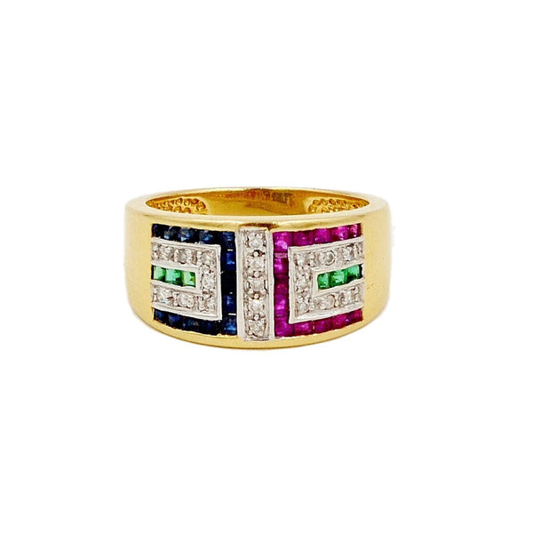 14K Yellow Gold, Sapphire, Ruby, Emerald & Diamond Ring.  Size 7 - Coco et Louis - 1
