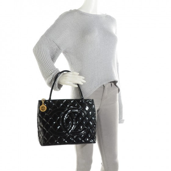 Chanel Black Quilted Patent Leather Gold Medallion Tote. Exquisite! Coco et Louis