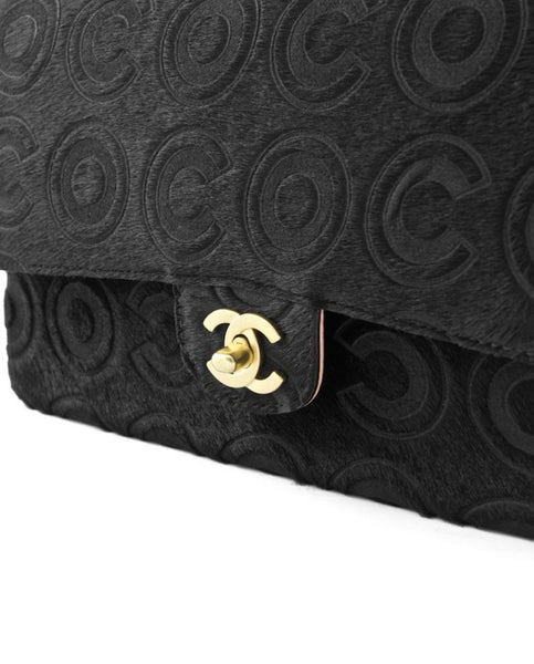 Chanel Black Ponyhair Coco Classic Medium Double Flap Bag.  Stunning! - Coco et Louis - 5