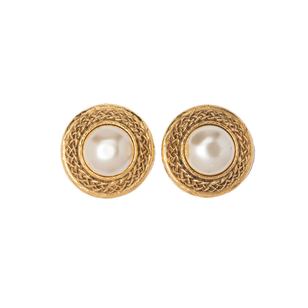 SOLD - Chanel Gold-tone Classic Faux Pearl Earrings. Beautiful ...