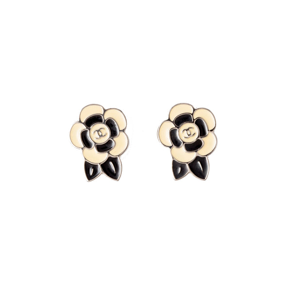 Chanel Black and Beige Camelia Earrings. Beautiful! - Coco et Louis - 1