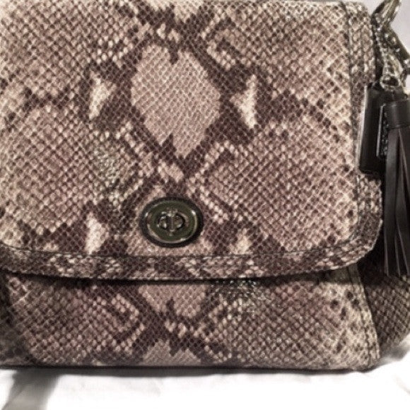 Coach Python Leather Satchel Flap Bag. New with Tags. Coco et Louis