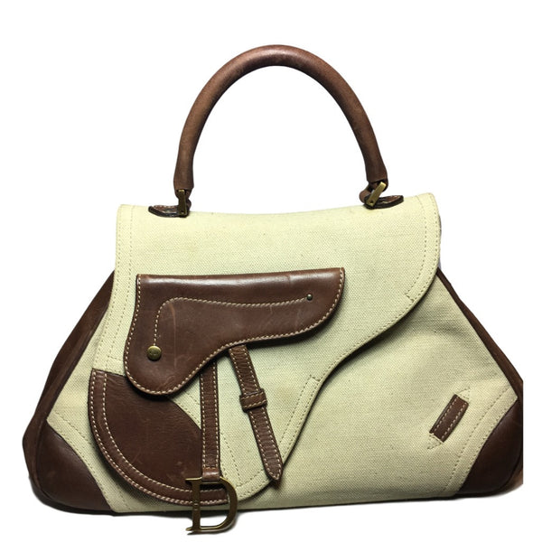 83e02db377 SOLD - Dior Tan and Brown Structured Saddle Bag. Vintage Beauty ...